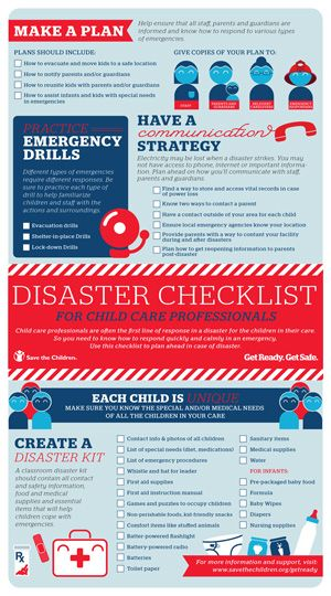 Disasters happen.  Download and print this disaster checklist for child care professionals to have on hand in case of an emergency.  Use this checklist to plan ahead!