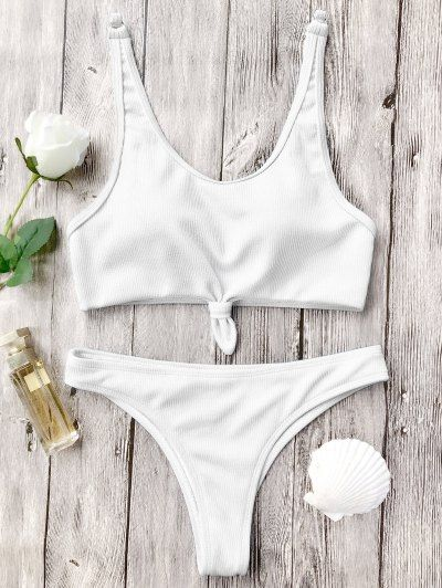 SHARE & Get it FREE | Knotted Bralette High Cut Bikini Set - White LFor Fashion Lovers only:80,000+ Items • New Arrivals Daily Join Zaful: Get YOUR $50 NOW!