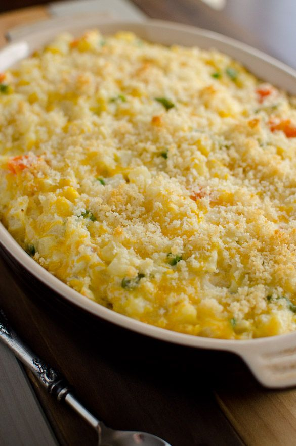 Potato Vegetable Casserole Topped with Crushed Ritz Crackers