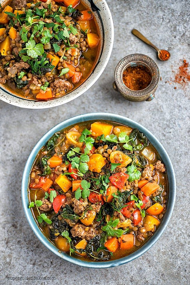 Healthy, easy and filling – stews are not just for winter! Lamb, lentil and squash stew | Supergolden Bakes