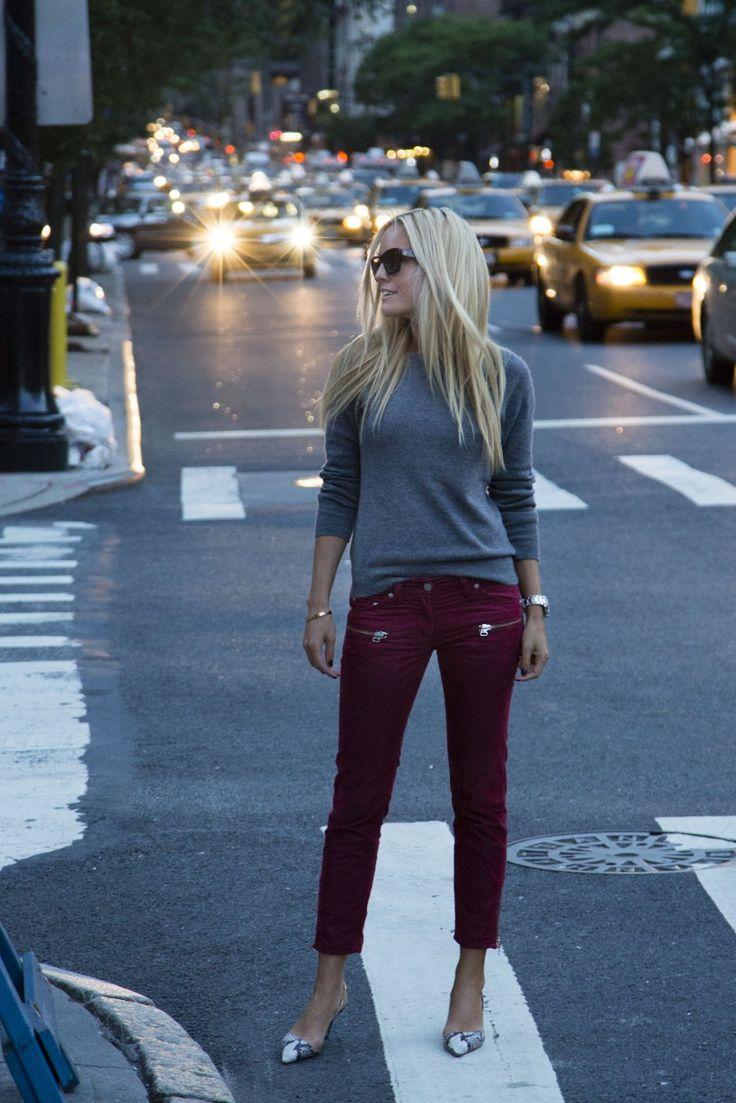 Burgundy pants: