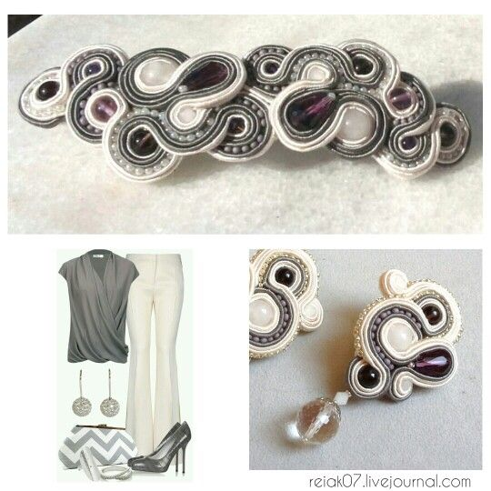 #soutache #yuliaozmen #white #grey #earrings #forhair