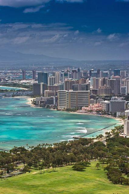 View from Diamond Head of Honolulu - ASPEN CREEK TRAVEL - karen@aspencreektravel.com