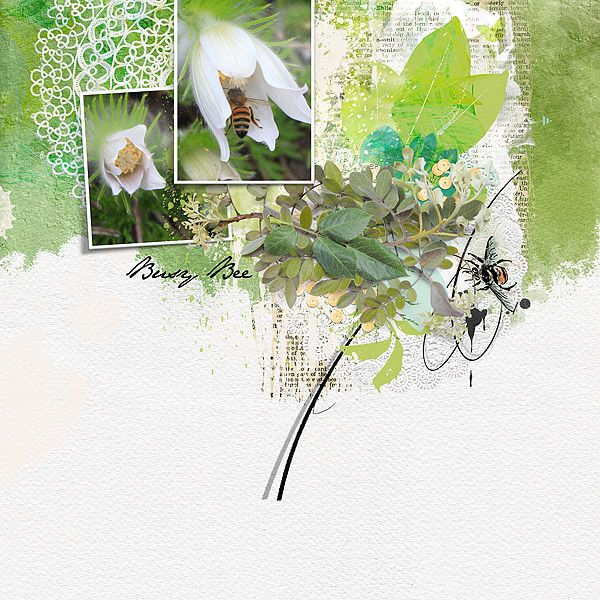 Spring Digital Scrapbook Page using Spring Flings & Easter Things by NBK Design