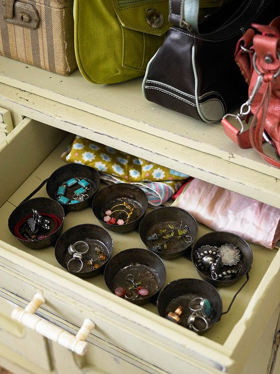 Organize with metal tins. From #BHG.