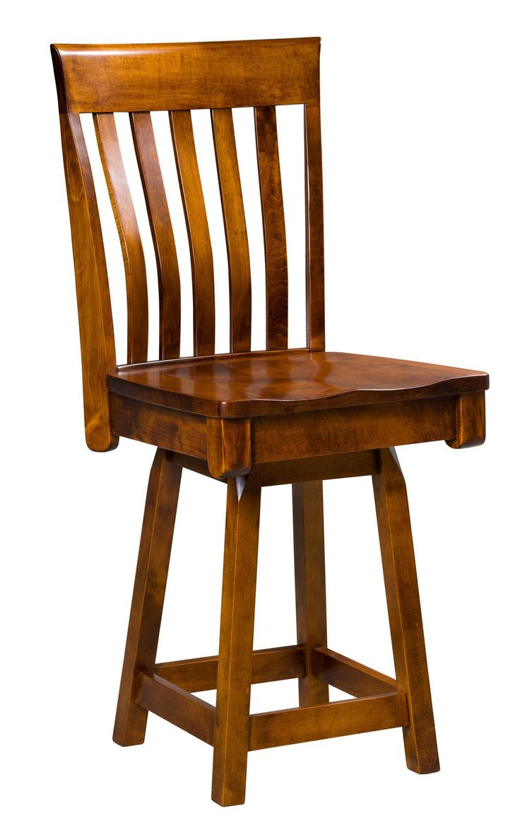 Amish Berkley Swivel Bar Stool Custom made bar stools with elegant mission style. Consider custom distressing for a time worn look.