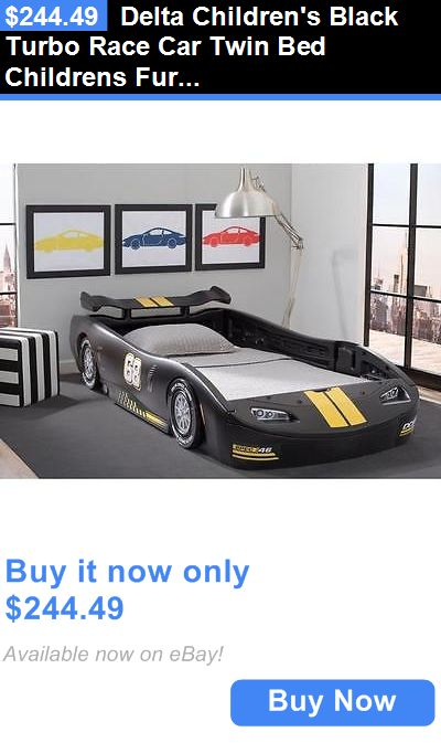 Kids Furniture: Delta Childrens Black Turbo Race Car Twin Bed Childrens Furniture Kids Bedroom BUY IT NOW ONLY: $244.49