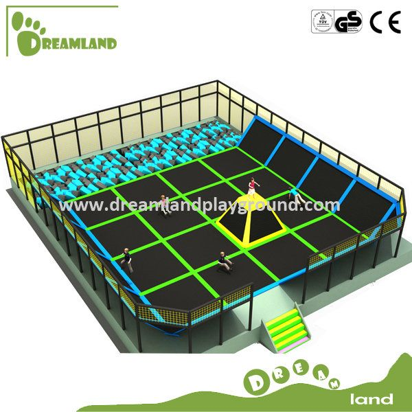 Large Indoor Trampoline with Foam Pit and Dodge Ball, Professional Gymnastic Commercial Trampoline for Sale