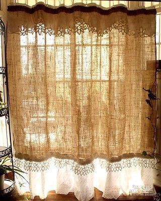 Custom SHABBY Rustic Chic Burlap SHOWER Curtain Valance Lace Ruffle White French