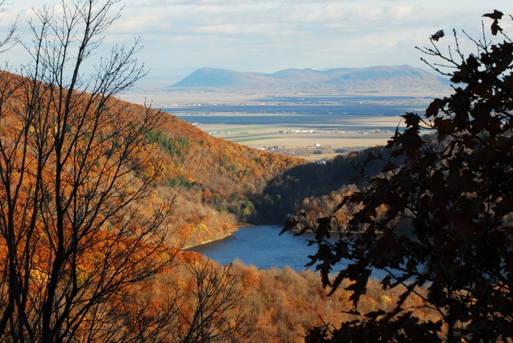 Rougemont over Lac Hertel from Mont Saint-Hilaire, Quebec