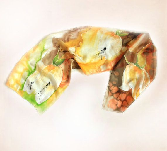 Hey, I found this really awesome Etsy listing at https://www.etsy.com/listing/197065269/silk-scarf-painted-in-orange-yellow