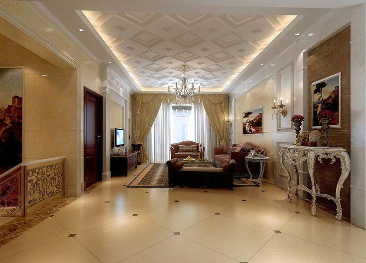 Living Room Ceiling Interior Design Rendering