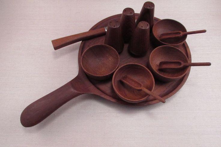 Vintage Danish Modern Frantz V. Lyngby Danmark Teak Condiment Set - 13 Pieces
