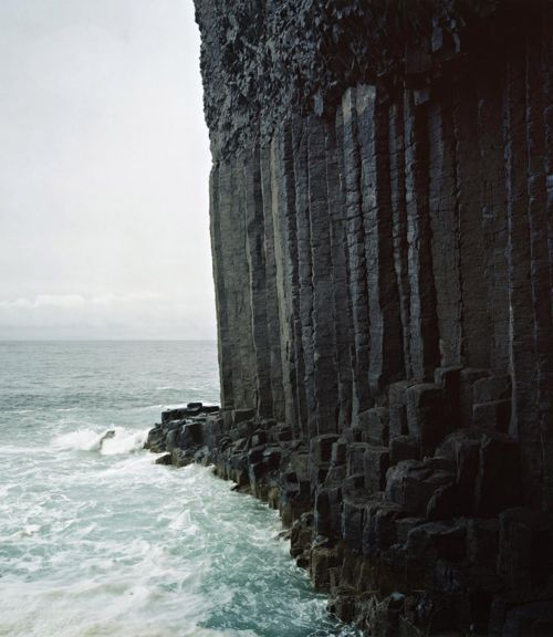 Fingal's Cave/Cave of Melody, Scotland (Inner Hebrides). Formed from hexagonally joined basalt columns within a paleocene lava flow.