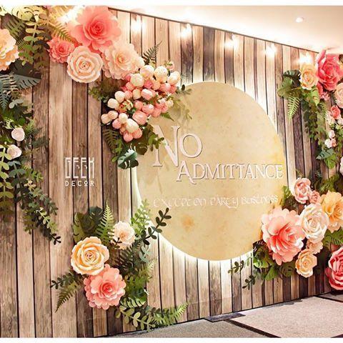 Image result for rustic paper flower backdrop backdrops for Background decoration for wedding