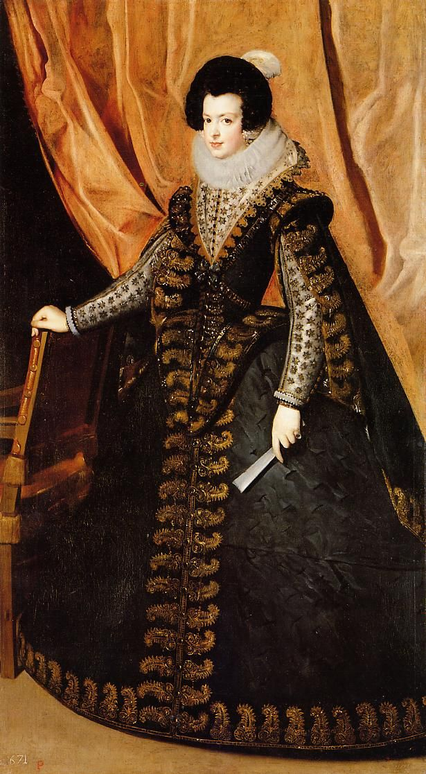 Isabel de Bourbón by Diego Rodríguez de Silva y Velázquez (private collection)Wearing a dress swelling towards the sides. The ruff is supported by a triangular collar. The skirt is slashed but underlying material is not visible.