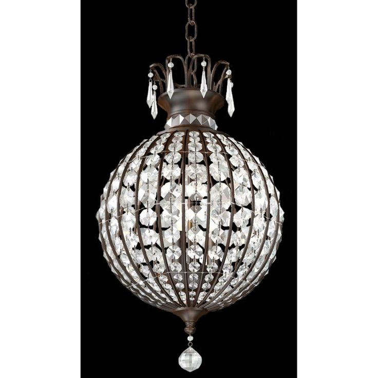 This is a beautifully constructed French inspired piece. The steel bronze frame with an effect of timber, is completed with crystal glass embellishments. This unique shaped pendant would look simply stunning in any bedroom or living room giving off a beautiful glow.Globe Spec: 3 x 60w E14 Max.Dimensions:Height - 49cmWidth - 32cmChain - 100cm (adjustable)Power Rating: 240vIP Rating: IP20