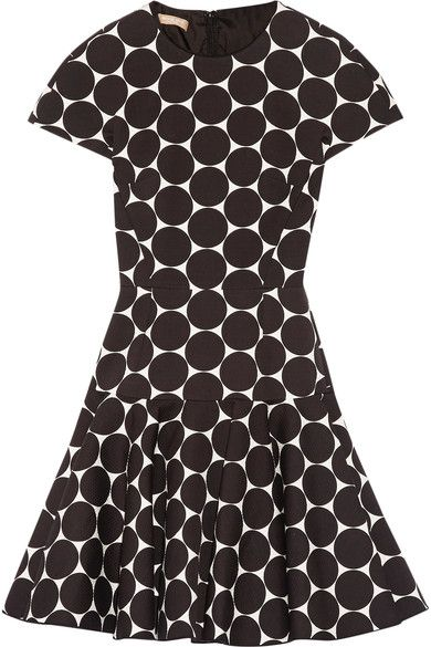 Michael Kors Collection - Polka-dot Cotton And Silk-blend Matelassé Mini Dress - Black