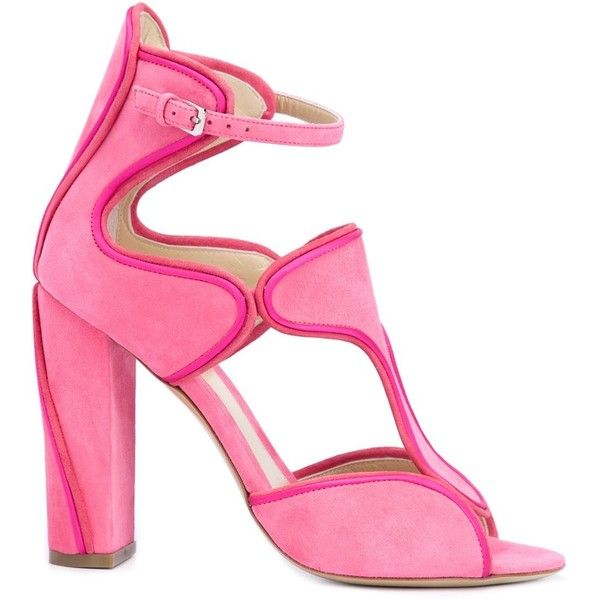 Monique Lhuillier buckled chunky high heel sandals ($1,280) ❤ liked on Polyvore featuring shoes, sandals, chunky-heel sandals, pink shoes, heeled sandals, pink fur shoes and monique lhuillier