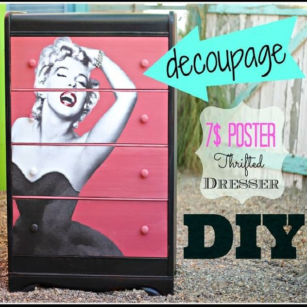 debisdesigndiary.com  Decoupage dresser with  a poster! Cool idea!