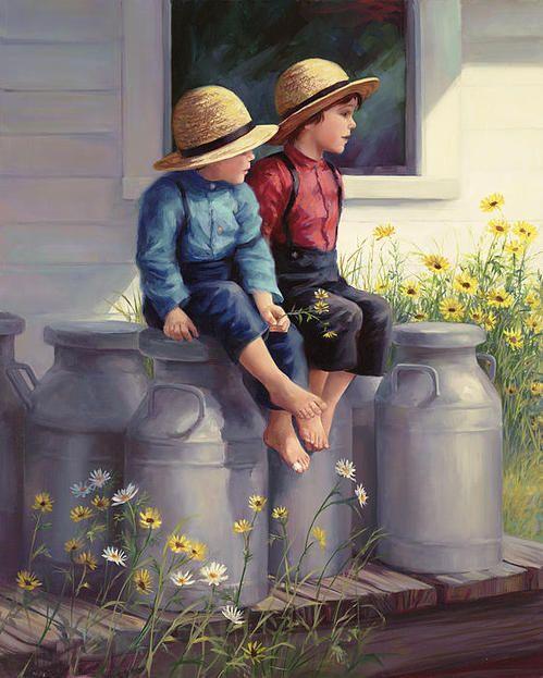 Amish Meeting Canvas Print / Canvas Art By Annie Stevens