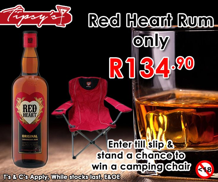 Buy a 750ml #RedHeart Rum for only R134.90 and enter your till slip to stand a chance to win a camping chair. Only at #TipsysLiquorBoutique. For more of our specials click here: http://ablog.link/3d5. Not for Sale to Persons Under the Age of 18. Drink Responsibly, T's & C's Apply, while stocks last, E & OE. #LIVEWITHHEARThttps://www.facebook.com/792063187523700/photos/pb.792063187523700.-2207520000.1436614955./925501247513226/?type=3