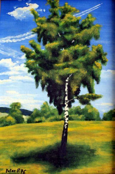 At noon, oil painting, hardboard, by Peter Pavluvcik.