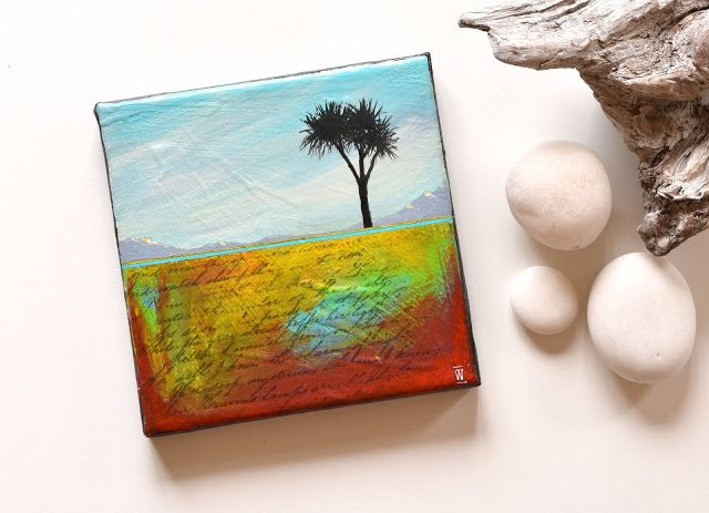 """""""Where I Belong"""" - abstract landscape painting with New Zealand Cabbage Tree"""