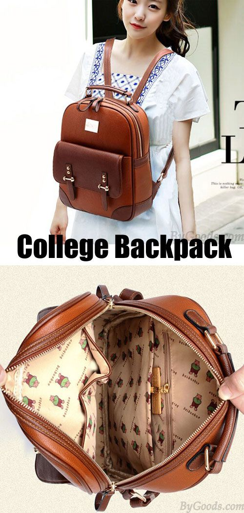 British Preppy Retro Brown Leather School Backpacks for my sister ! #backpack #brown #bag #women #school #leather #retro
