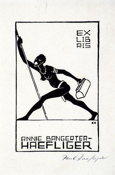 Artist: HAEFLIGER, Paul | Title: Bookplate: Annie Bangerter | Date: 1931-33 | Technique: woodcut, printed in black ink, from one block