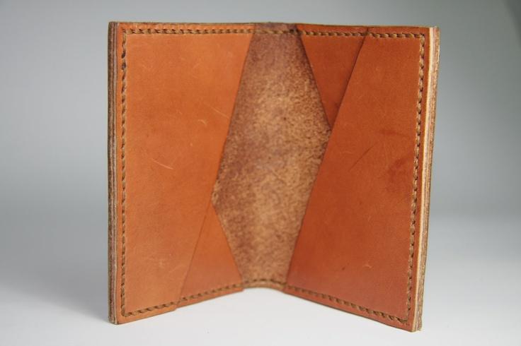 Motto - Orange Brown Leather Card Holder , Case( Genuine leather & Handmade)