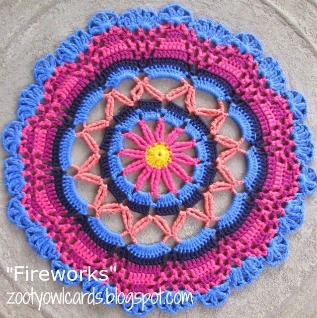 Fireworks Doily / Mandala | Zooty Owl's Crafty Blog | Bloglovin'