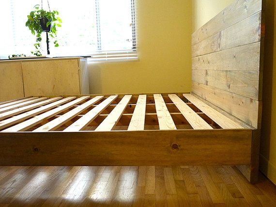 Rustic Platform Bed Frame With Headboard Built by by PereidaRice
