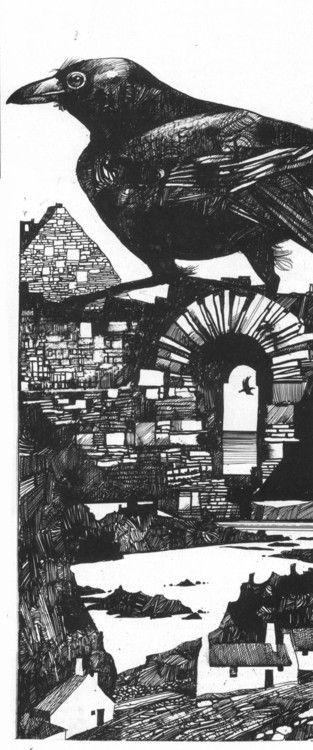 Sergio Toppi Illustrazioni per il racconto I mantelli nero-blu  di   Giorgio Maria Griffa