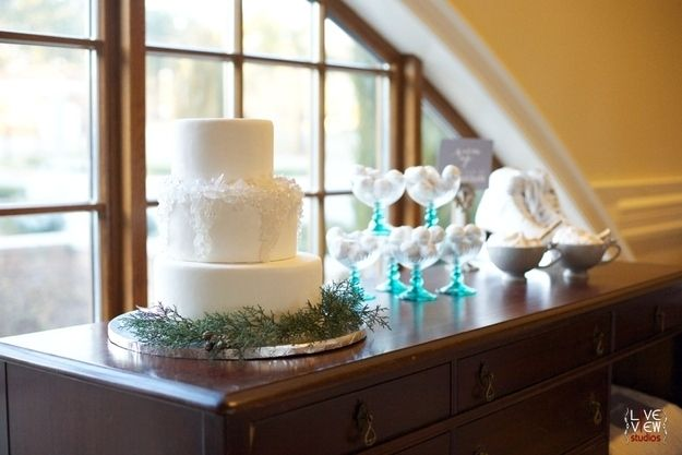 Decorate it with fake candy icicles. | 42 Lovely Ideas For A Cold-Weather Wedding