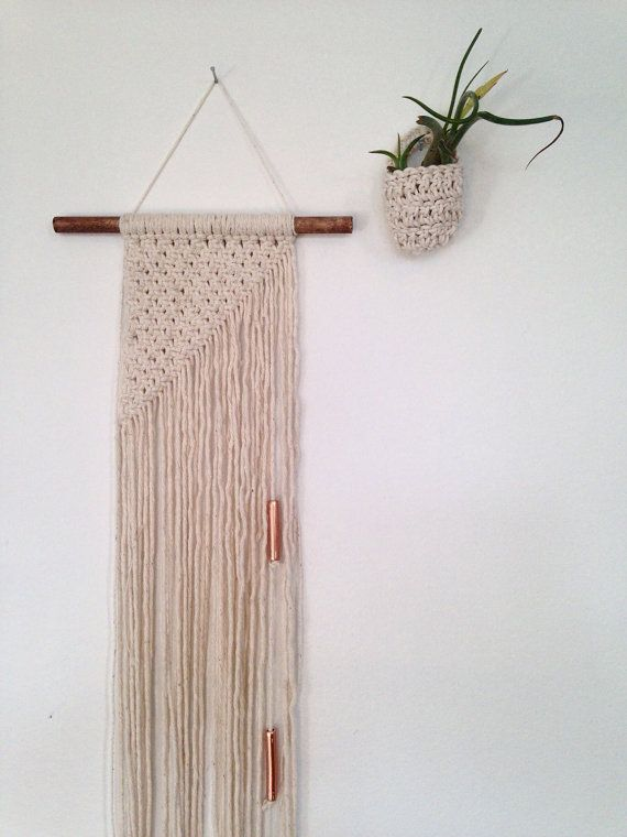 Mini macrame wall hanging cotton on a stained dark by Rowanstudios                                                                                                                                                                                 More