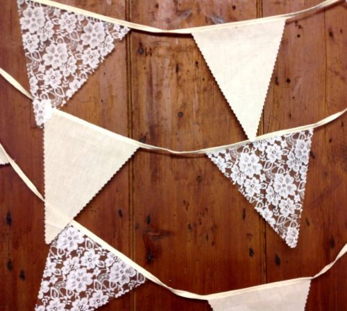 Rustic bunting sold per metre natural cotton calico & lace barn dances, weddings | eBay