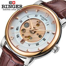 Genuine Swiss BINGER luxury brand Men fashion sapphire leather strap hollow watch waterproof calendar wise series free shipping(China (Mainland))