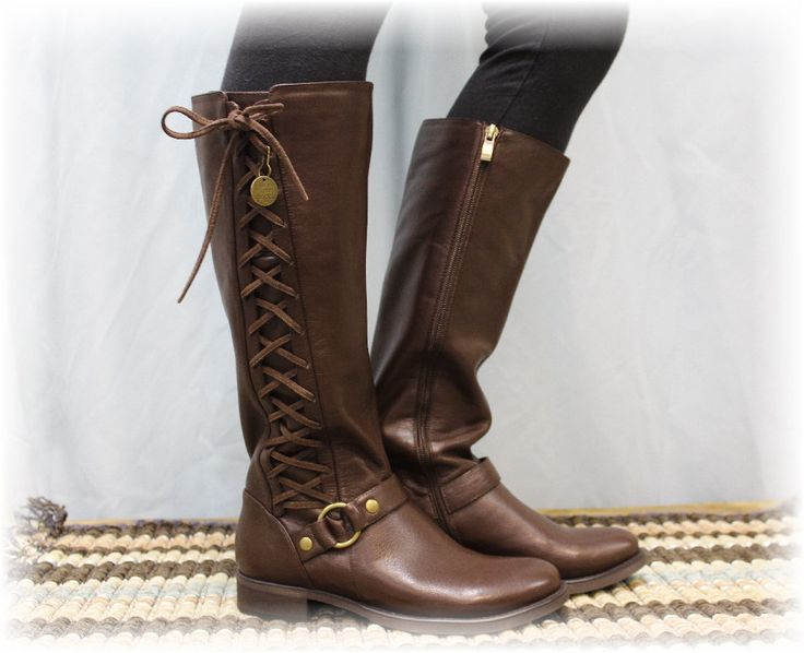 Brown leather look side lace up boot, women tall boots, boots  lacing. winter boots, cute boots ties, ladies fall boots, riding boots,  shoe by VerveandSpirit on Etsy https://www.etsy.com/listing/238774225/brown-leather-look-side-lace-up-boot