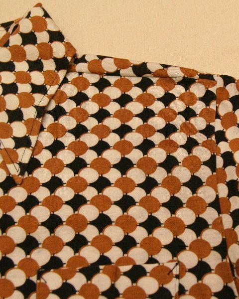 メンズ古着・レトロ/ブリヂストン 幾何学模様ポロシャツ・茶色_Lサイズ