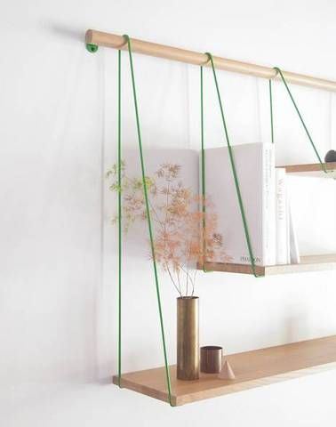Tri-level hanging shelves.