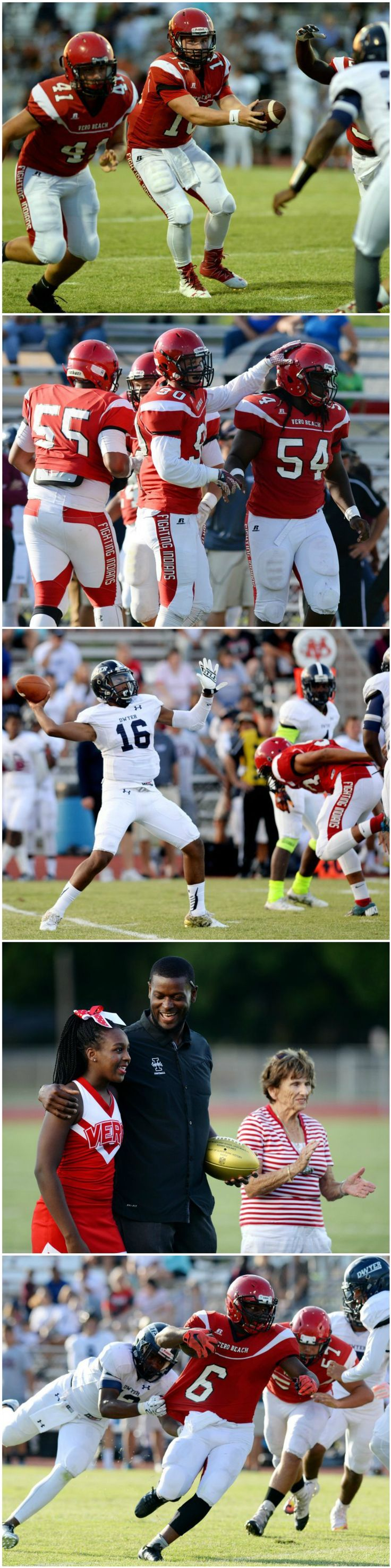 Images from the high school football game Tuesday, May 24, 2016 between Vero Beach and W.T. Dwyer at Billy Livings Field at the Citrus Bowl in Vero Beach.
