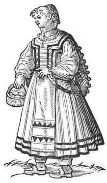 Italian Working class dress, Cesare Cecellio, Peasant woman fro Cividale, 1590