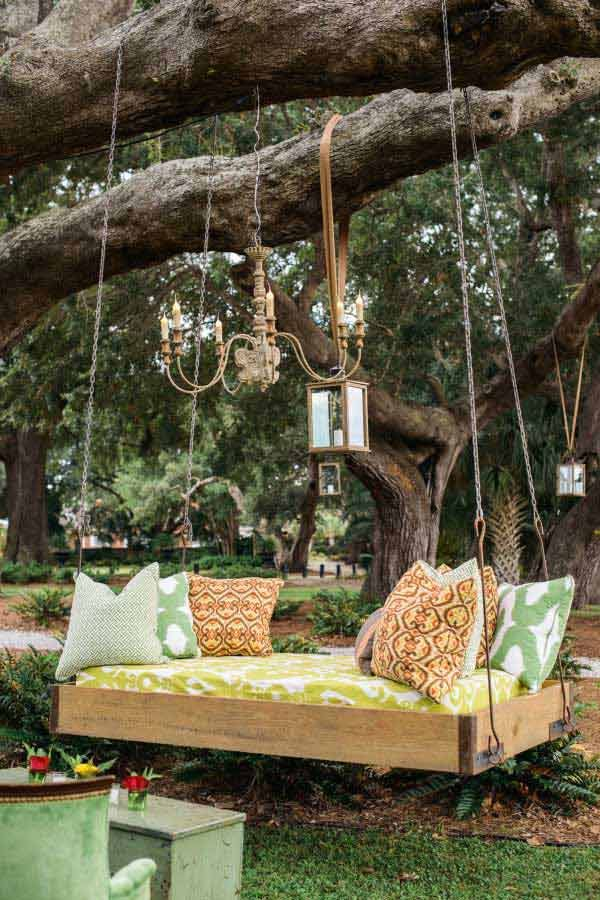 View in gallery An outdoor canopy bed that can be moved around with ease