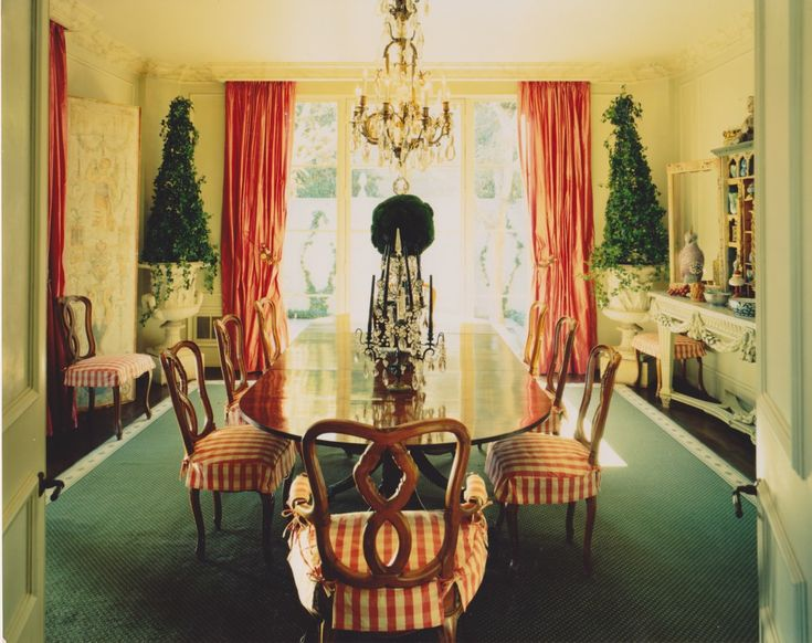 Dining Room With Ivy In Urns French Chandelier Checked