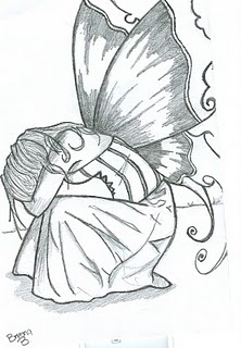 I'm not usually into fairies, but there is something about this sad fairy that I really like. It would need to be kept simple - black and white or dark brown on cream.