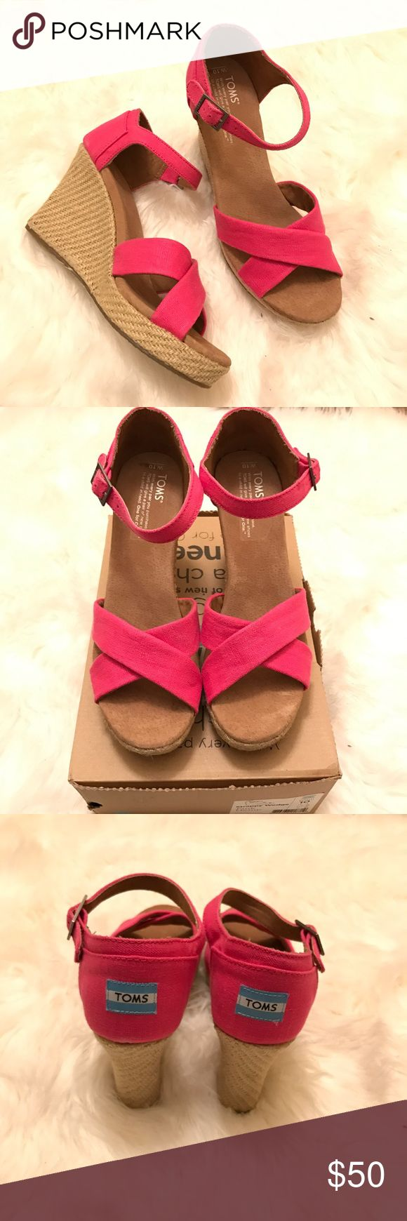 TOMS Hot pink strappy wedges....need a top to match. :)