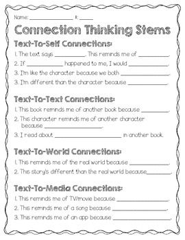 Each of my students gets a copy of this chart to place in their reader's notebook. I hope you find it useful in your classroom to help your students make MEANINGFUL connections.