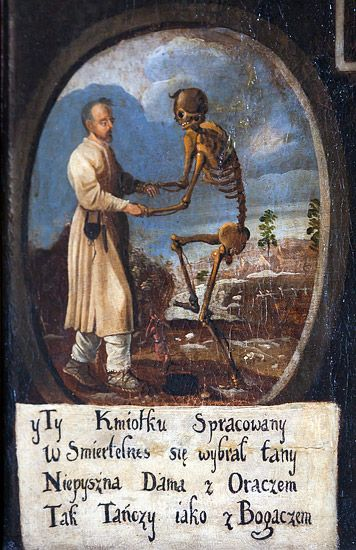 """Fragment """"Tańca śmierci"""" z kościoła św. Bernardyna w Krakowie. Końcówka XVII wieku."""