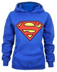 Stylish Hooded Long Sleeve Superman Shield Logo Women's Superhero Hoodie